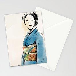 青い着物の女 Stationery Cards