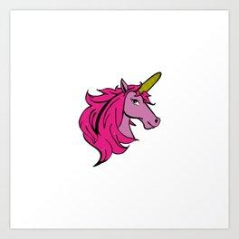 Cartoon Unicorn on the Cob - Pink Cornstalk pun Art Print