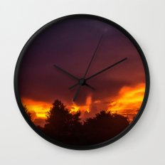 Sunset After The Storm Wall Clock