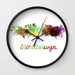 Mississauga skyline in watercolor Wall Clock