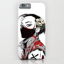 Vaporwave Cyberpunk Urban Street Art Style Girl iPhone Case