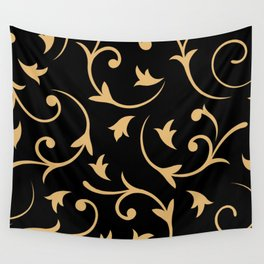 Baroque Design – Gold on Black Wall Tapestry