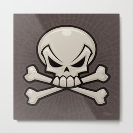 Skull and Crossbones Metal Print