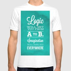 Logic will get you from A to B... Imagination will take you everywhere! White SMALL Mens Fitted Tee
