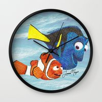 finding nemo Wall Clocks featuring Finding Nemo by Larissa