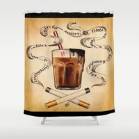 cigarettes Shower Curtains featuring Cigarettes and Chocolate Milk by Brittany W-Smith