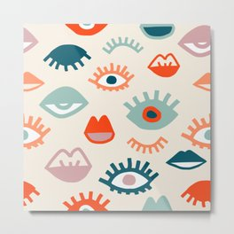 Mystic Eyes- Colorful cartoon seamless pattern with opened, closed eyes and lips in simple hand drawn style Metal Print