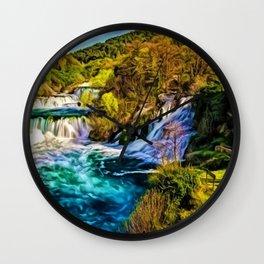Beautiful Skradinski Buk Waterfalls Croatian Landscape Wall Clock