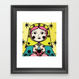 Matryoshka russian doll colorful illustration wall decor - Tatiana Framed Art Print