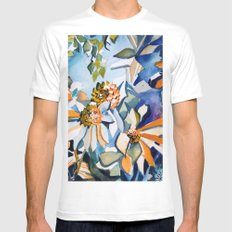 Carnival of Daisies White MEDIUM Mens Fitted Tee