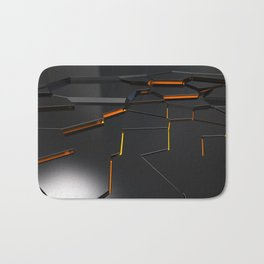Black fractured surface with orange glowing lines Bath Mat