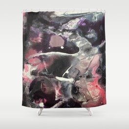 Pink and Black Original Abstract Painting by JodiLynpaintings. Splatter Abstract Pink Black Shower Curtain