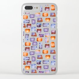 Blue and orange watercolour splotches Clear iPhone Case