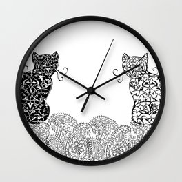 Black Cat White Cat Wall Clock