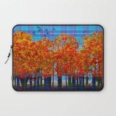 Fall Leaves On Plaid Laptop Sleeve