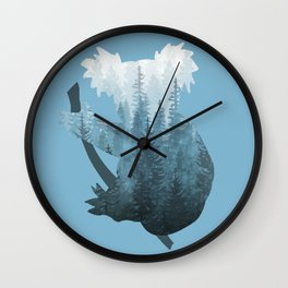 Misty Forest Koala Bear - Blue Wall Clock