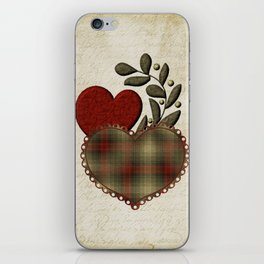 Red & Green Plaid Heart Love Letter iPhone Skin