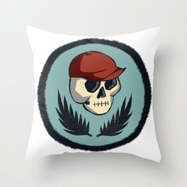 Skull Above Fronds Throw Pillow