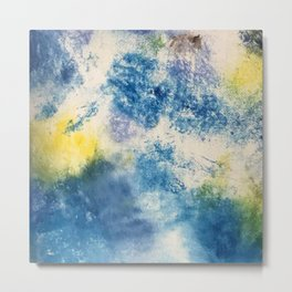 Elated// abstract/ blue/ yellow  Metal Print