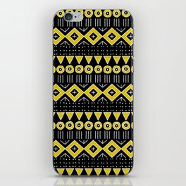 Mudcloth Style 2 in Black and Yellow iPhone Skin