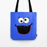 elmo Tote Bags featuring Gimme Those Cookies Girl! by Alli Vanes