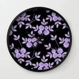 Retro . purple flowers on a black background . Wall Clock