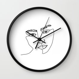 Face one line illustration - Esma Wall Clock