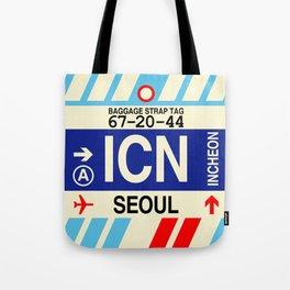 ICN Seoul • Airport Code and Vintage Baggage Tag Design Tote Bag