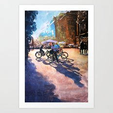 Bicycle shadows on the sunny street Art Print