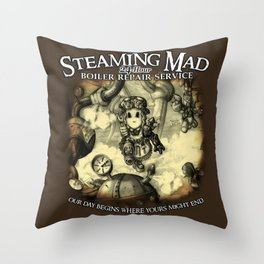 Steaming Mad Boiler Repair Throw Pillow