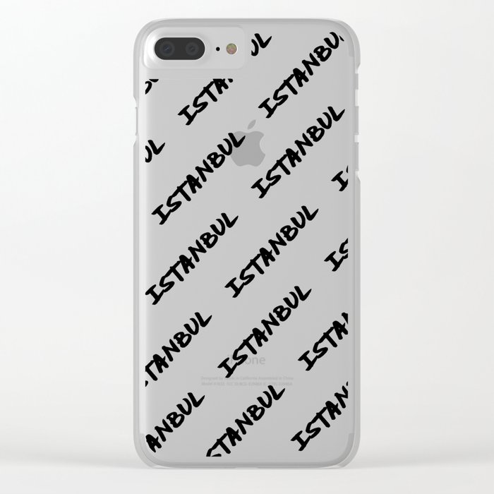 'Istanbul' Turkey Hand Letter Type Word Black & White Clear iPhone Case