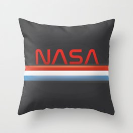 NASA Three Stripes Dark space Throw Pillow