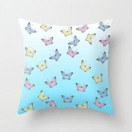 Rainbow Butteflies Throw Pillow