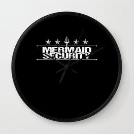 Mermaid Merman Security Swimming Shirt Wall Clock