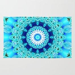 Blue Ice Glass Mandala, Abstract Aqua Lace Rug