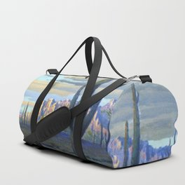 Superstition Mountains and Desert Landscape by John Marshall Gamble Duffle Bag