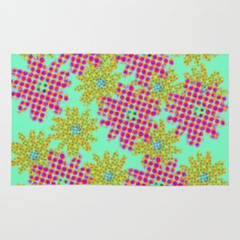 Pink Flower Halftone on Green Rug