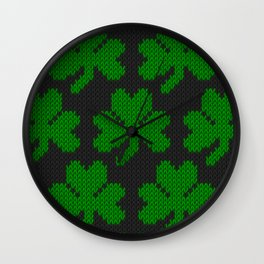 Shamrock pattern - black, green Wall Clock