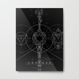 Voyager Blueprint - BLACK variant Metal Print