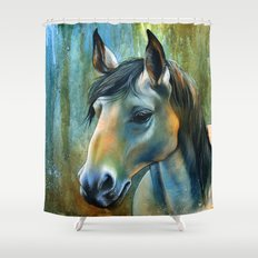 Horse in Blue Shower Curtain