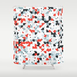 The accent color - Random pixel pattern in red white and blue Shower Curtain