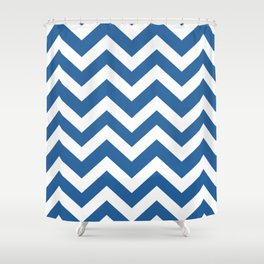 Lapis lazuli - blue color - Zigzag Chevron Pattern Shower Curtain