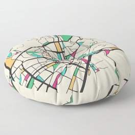 Colorful City Maps: Malaga, Spain Floor Pillow