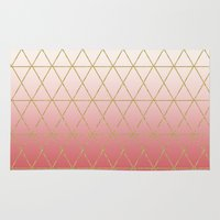 rose gold Area & Throw Rugs featuring Rose Gold Geometric by Leah Flores