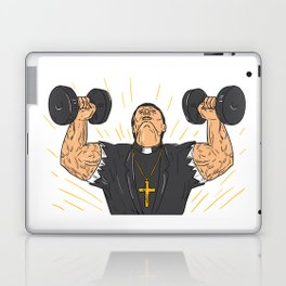 Ripped Priest Exercise Dumbbell Drawing Laptop & iPad Skin