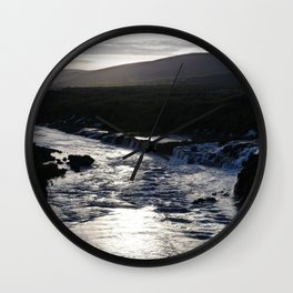 Waterfall at sundown Wall Clock