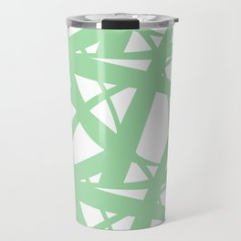 Pastel Green & White Abstract Mosaic Pattern 3  Pairs To 2020 Color of the Year Neo Mint 065-80-23 Travel Mug