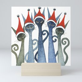 Snow Camp Whimsical Christmas Cats Mini Art Print