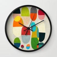 pills Wall Clocks featuring Jagged little pills by Picomodi