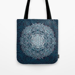 Flower Of Life (Silver Lining) Tote Bag